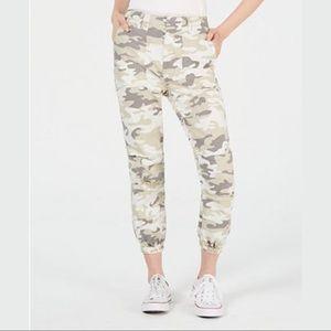 Tinseltown Love Fire Camo Slim Utility Pants Crop